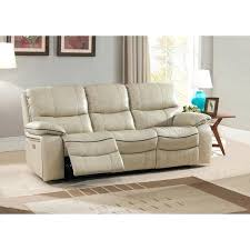 leather power reclining sofa ivory top grain leather power reclining sofa with power headrests on