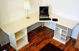 image of nice l shaped diy computer desk