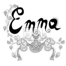 Fototapeta Nápis Samice Jménem Emma S Krásným Květinovým Vzorem V Doodle