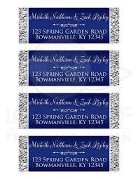 silver address label personalized address labels 2 navy blue silver gray faux foil