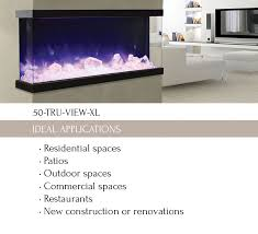 50 tru view xl 3 sided electric fireplace amantii electric fireplaces