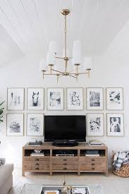 great idea for decorating around your tv hang similar sized art pieces in a grid around it