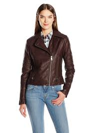 levi s women s faux leather lay down collar motorcycle jacket with quilted arms l