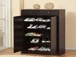 Black shoe cabinet with doors 1