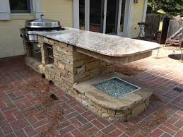 Prefab Outdoor Kitchen Island Cream Stone Prefab Outdoor Island With Light Tone Marble Eased