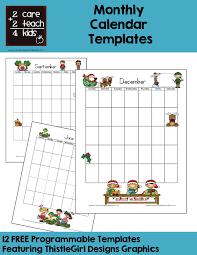 Calendars Free Printable Templates 2care2teach4kids Com