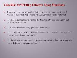 essay type questions and their improvement ppt  checklist for writing effective essay questions