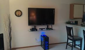 small spaces house design with glass shelves for wall mounted tv