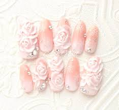 ヌーディーカラー白グラデ3d薔薇ネイル Asanail