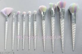 unicorn brush set. make-up magic: the brushes, available this october, feature opalescent, tapered unicorn brush set