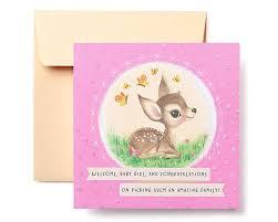 Deer New Baby Girl Congratulations Card