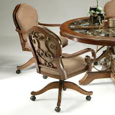 favorable oak dining chairs with casters dining room chairs with casters and arms enter home captain kitchen chairs with casters jpg