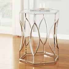 Coffee Sofa End Tables Inspire Q Davlin Hexagonal Metal Frosted Glass  Accent Table Sets