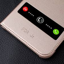 samsung flip phone 2016. luxury leather flip case for samsung galaxy j7 2016 call window cover phone -in cases from cellphones