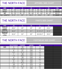 North Face Puffer Jacket Size Chart 57 Credible The North Face Womens Size Chart