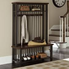 Entrance Coat Rack Bench Mesmerizing Wood And Metal Entryway Hall Tree Coat Rack Bench And Shelf