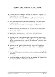 the tempest essay shakespeare s the tempest study guide connell possible essay questions for the tempest essay writing service possible essay questions for the tempest