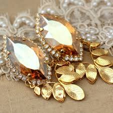 gold chandelier statement earrings topaz champagne drop earrings rhinestone jewelry 14k gold plated gold leaf