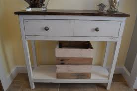 small entryway table. White Wooden Entryway Table With Dark Brown Top And Drawers Also Shelf On The Floor Small A