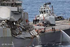Image result for تصادف شدید ناو پیشرفته آمریکا با کشتی باربری فیلیپین در سواحل ژاپن