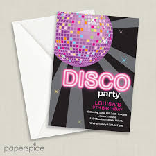 Disco Ball Pink Childrens Birthday Party Invitations Home