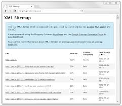 opening of a css formatted xml sitemap in a web browser here for seo