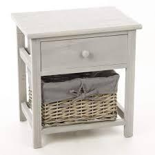 Table de nuit Table de chevet en Bois avec 1 tiroir + 1 panier ...