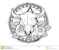 эскиз татуировки черепа быка с розами и эскизом татуировки Leafes