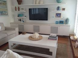 idea for shelves around tv more