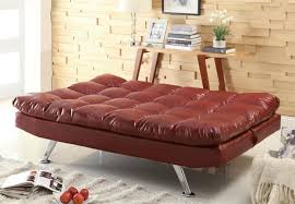 cushion quilted sofa bed in red