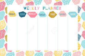 Cute Template Cute And Colorful Weekly Planner Template With Geometric Abstract