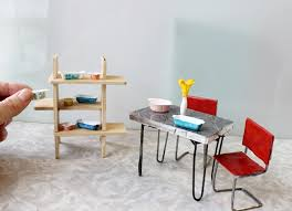 miniatures dollhouse furniture. retro modern dollhouse miniature dinette table and chairs with diy vintage pyrex miniatures furniture