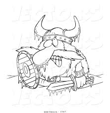 Small Picture Vector of a Cartoon Frozen Viking Coloring Page Outline by