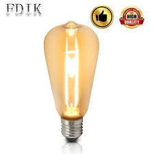 Led Bulb E27 Edison Retro Cob Filament Bulbs St64 4w Warm White Decor Lighting Bar Restaurant Cafe Bedroom Creative Light Source