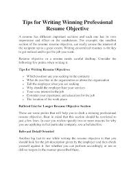 Tips For Resume Objective Resume Objective Lines