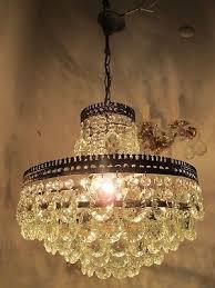 antique vnt french big bohemia crystal chandelier lamp 1940 s 15in Ø diamter