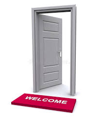 open door welcome mat. Download Welcome Mat And Open Door Stock Illustration. Illustration Of Explore - 16393313 R