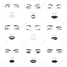 女の子の感情面漫画ベクトル イラスト女性絵文字顔アイコンと女性絵文字かわいいシンボルに直面します