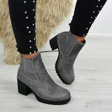 Light Grey Boots Womens Ayana Light Grey Chunky Ankle Boots