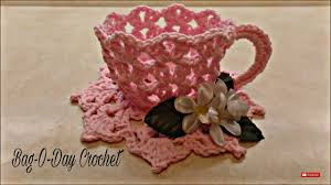 Decorative Cups And Saucers CROCHET How To Crochet Decorative TeaCup and Saucer TUTORIAL 24