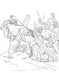 Vijfde Station Jezus Wordt Geholpen Om Zijn Kruis Te Dragen