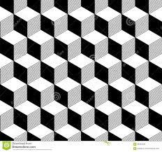 Abstract 3d Gestreept Kubussen Geometrisch Naadloos Patroon In Zwart