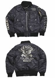 entering vanson バンソン ma 1 flight jacket riders specifications pre start star embroidery patch custom serial number nvjk 702 camo
