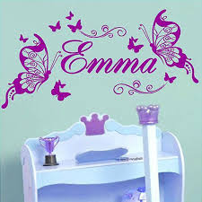 personalised butterfly wall sticker custom made kids name decal decoration girls room home decor baby wall sticker girl wall decals decorative wall decal  on custom made wall art stickers with personalised butterfly wall sticker custom made kids name decal