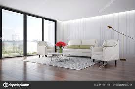 Het Interieur Van De Luxe Lounge Stoelen En Woonkamer En Hout Muur
