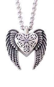embraced by angels winged heart urn pendant