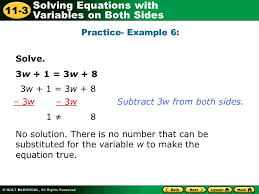 solving equations with variables on both sides 11 3 learn to solve