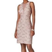 Nightway Womens Petite Glitter Lace Sheath Dress