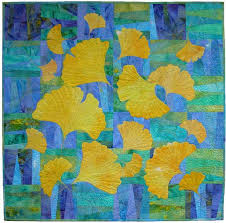 64 best blue and yellow quilts images on Pinterest | Embroidery ... & Yellow Ginkgoes on Blue and Green - quilt by Ann Fahl Adamdwight.com