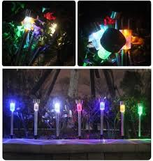 10pcs solar powered led garden lights post patio outdoor colour changing lamp